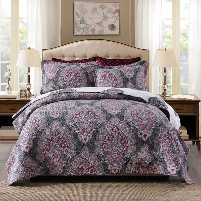 CHAUSUB AB-Side Quilt Set 3pcs Cotton Bedspread Vintage Printed Quilts Quilted Bed Cover Pillowcase King Queen Size CoverletCHAUSUB AB-Side Quilt Set 3pcs Cotton Bedspread Vintage Printed Quilts Quilted Bed Cover Pillowcase King Queen Size Coverlet