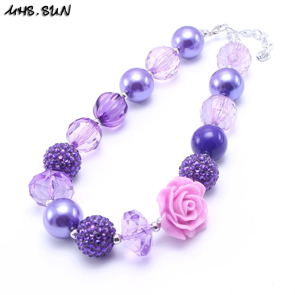 New design chunky bead necklace kids bubblegum purple flowers beads new design chunky bead necklace kids bubblegum purple flowers beads necklace decoration for girls birthday gift free shipping in choker necklaces from izmirmasajfo