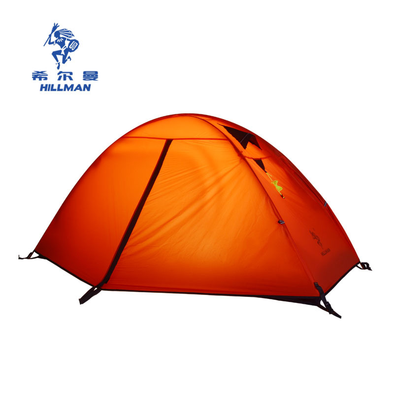 Hillman super light aluminum pole double layer outdoor mountain camping tent single person anti-storm high quality tent 2018 hillman camping tent high mountain highland snow mountain double layers silicone coating tents super windproof rainproof