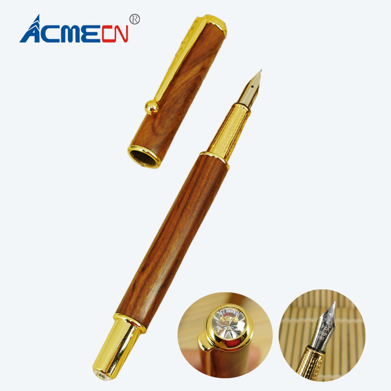 ACMECN Fashionable Wooden Fountain Pen with Gold trim Pen top and tip with crystal Unique Design Calligraphy Pen for Students