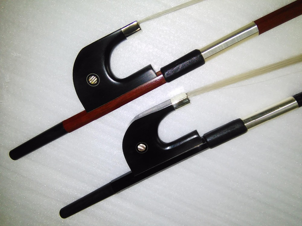 2 PCs German Style Double bass bow 4/4 Colored Shell Eye including 1 PC Octagonal Brazil Wood  bow &1 PC Black Carbon Bass bow 1 pc double bass bow 3 4 brazil wood bow stick and ebony frog white bow hair
