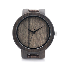 New Arrival  Black Sandalwood Watches Hot Marketing Mens Fashion Leather Bamboo Wooden Watches Analog Quartz Wrist Watch gift