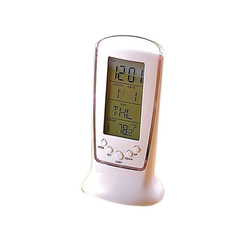 Battery Powered LED Digital Clock With Alarm / Date / Thermometer / Light / Timer / Music (White)