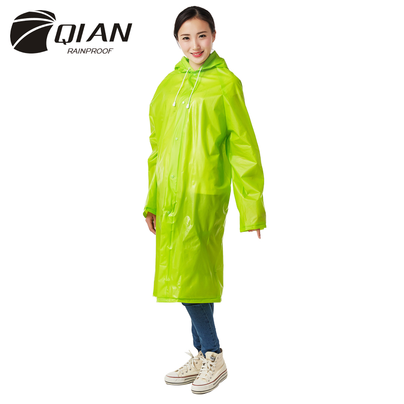 QIAN RAINPROOF Impermeable Raincoat Women Transparent EVA Vattentät Trench Coat Hooded Poncho Rainwear Rain Gear