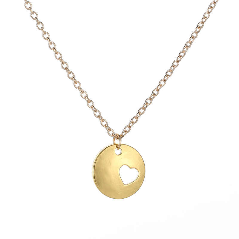 Tiny Heart Choker Necklace for Women Girl Simple Gold Chain Smalll Love Round Alloy Necklace Pendant Bohemian Chocker Jewelry