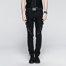 PUNK RAVE Vintage Long Jean with Skull Printing Branded Summer New Style Skull Men COTTON 100% Printed Jeans