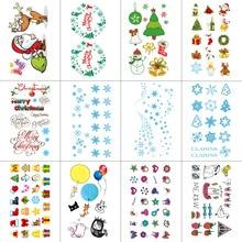 TCOOL 12 STÜCKE Weihnachten Cartoon Temporäre Tattoo Aufkleber für Kinder Body Art Kinder Wasserdichte Hand Gefälschte Tatoo 10,5X6 cm W12-18