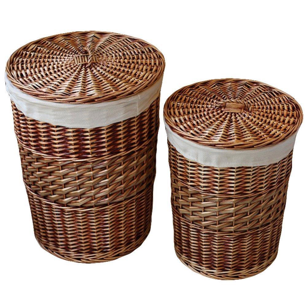 Online Shop Laundry Storage Baskets With Lid Hamper Handmade Woven  Wickeru0026cattail Round Closet Organizer | Aliexpress Mobile