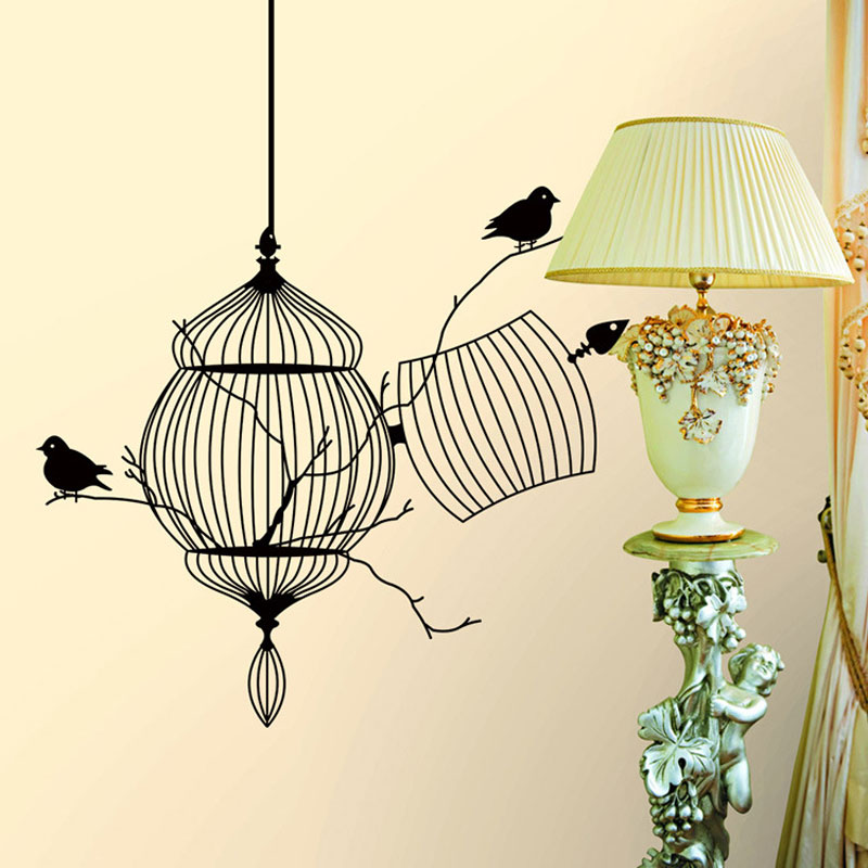 Carved birdcage and bird sticker Waterproof Living room bedroom background home decor pvc Generation wall stickers
