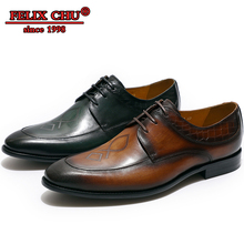 New Fashion Handmade Men Genuine Leather Shoes Footwear Lace Up Formal Men Derby Shoes Brown Green Men Business Office Shoes цены онлайн