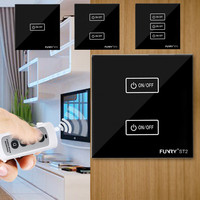 EU UK Standard 1 2 2 Gang 1 Way Touch Switch 220V Black Crystal Glass Remote