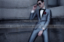 Custom Made One Button Groom Tuxedos Best man Suit Groomsman Men Wedding Party Suits Bridegroom(Jacket+Pants+Tie)