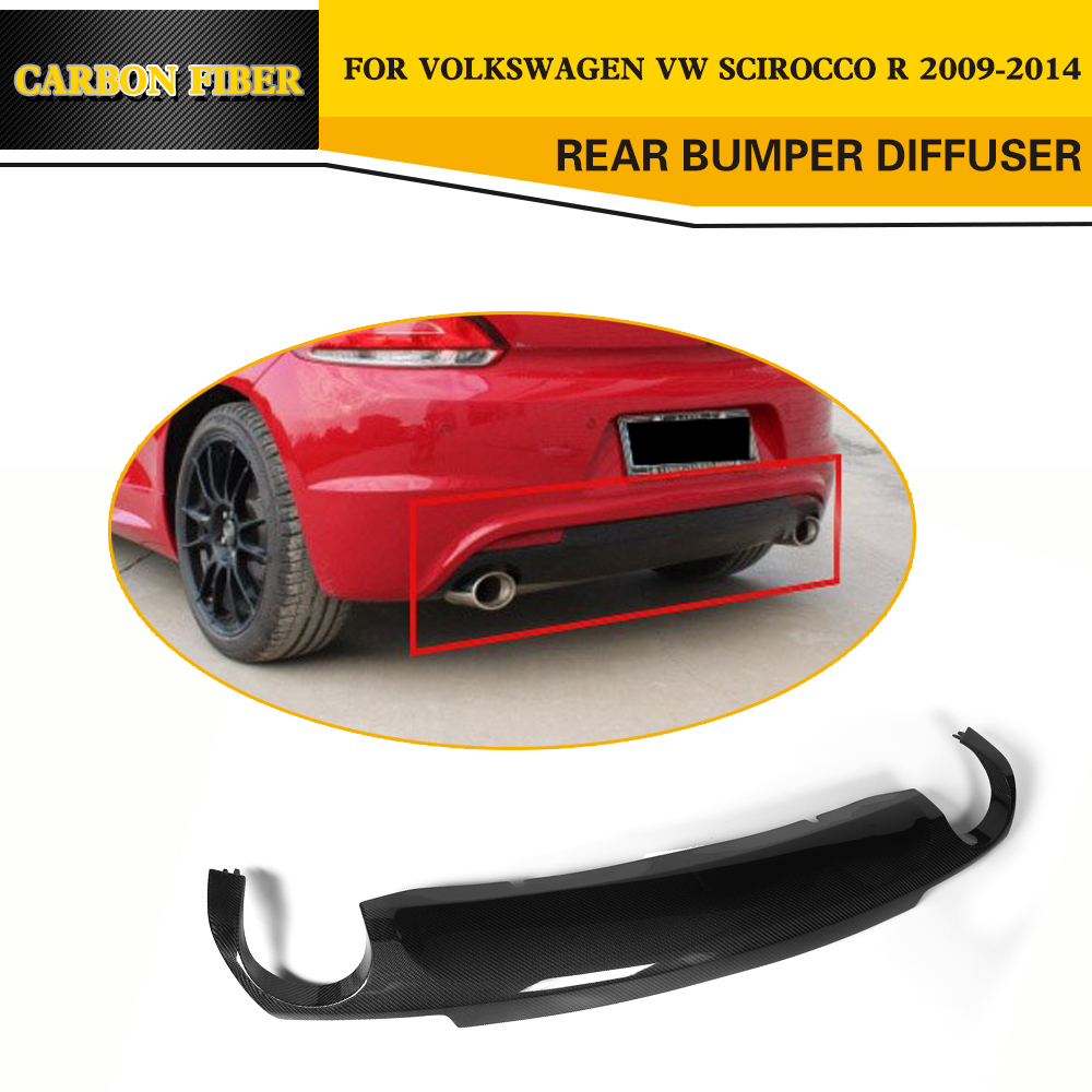 Car Styling Carbon Fiber Car Rear Diffuser Lip for Volkswagen VW Scirocco R Bumper 2009 2014