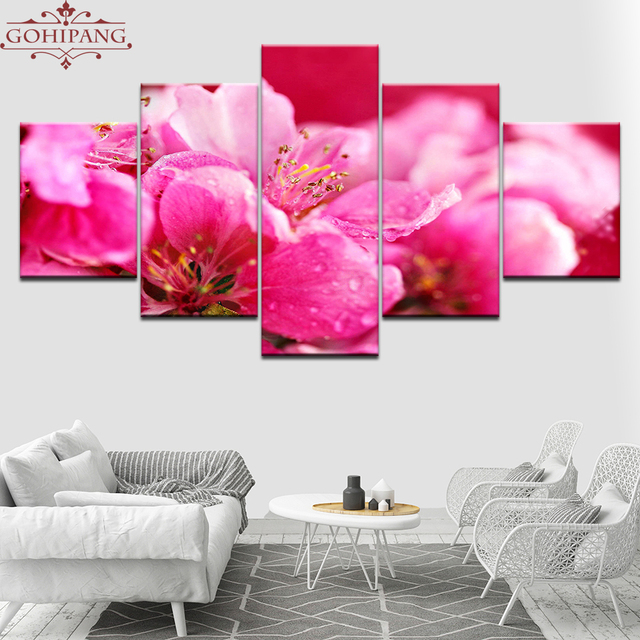 Aliexpress.com : Buy Gohipang Hot Pink Flowers Wallpapers 5 Piece ...