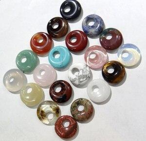 Image 1 - 15 stücke 18mm Natürliche Stein Achate Kristall Türkisen Verkrustete gogo donut anhänger für DIY schmuck machen halskette ohrringe zubehör