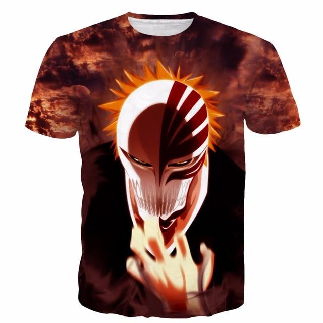 New Arrive Anime Bleach t shirts Classic Characters Kurosaki ichigo tshirts tees Men Women Harajuku tee shirt Hipster 3D t shirt