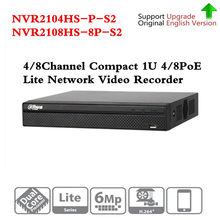 Original Dahua NVR2104HS-P-S2 NVR2108HS-8P-S2 4/8 CH NVR POE 1U PoE red grabadora de Video Full HD 6MP de grabación para cámara IP