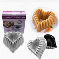 Elegant Heart Bundt Cake Mold Metal Baking Pan Heavy Cast Aluminum Baking Form DIY Cake Design Nonstick Baking Tools For Cakes