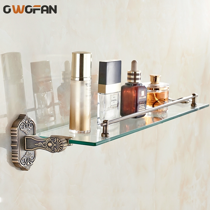Bathroom Shelves Tempered Glass Shelf Brass Gold Carved Cosmetic Racks Single Layer Bathroom Accessories Metal Wall Holder 3313 auswind 2 layer silver corner basket bathroom products luxury cosmetic storage bathroom shelf holder bathroom accessorie pf10