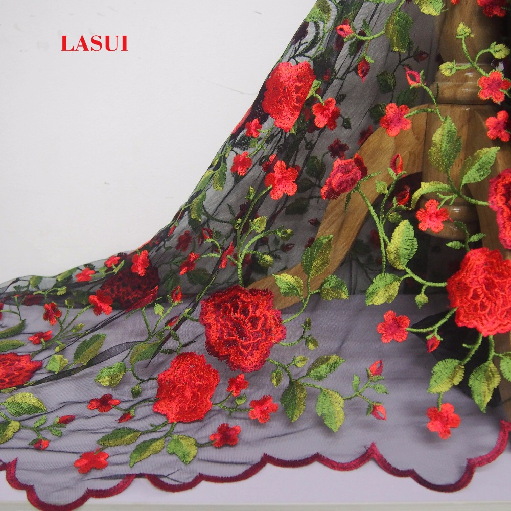 LASUI 3y 1lot TOP quality Skirt dress fashion cloth good look Black mesh Rose embroidery lace