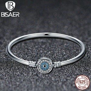 Image 5 - BISAER Real 925 Sterling Silver Blue Lucky Evil Eyes Blue Eye Femme Bracelets & Bangles for Women DIY Accessories Jewelry ECB012