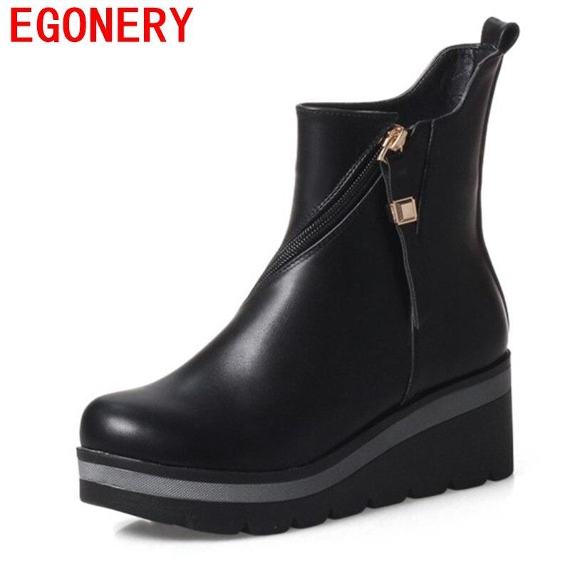 Bottes Haute Femme Plate Compensées Talon Bottines Cuir Boots Casual Hiver L'automne Chaussures Augmenter 3 cm Noir Marron Gris