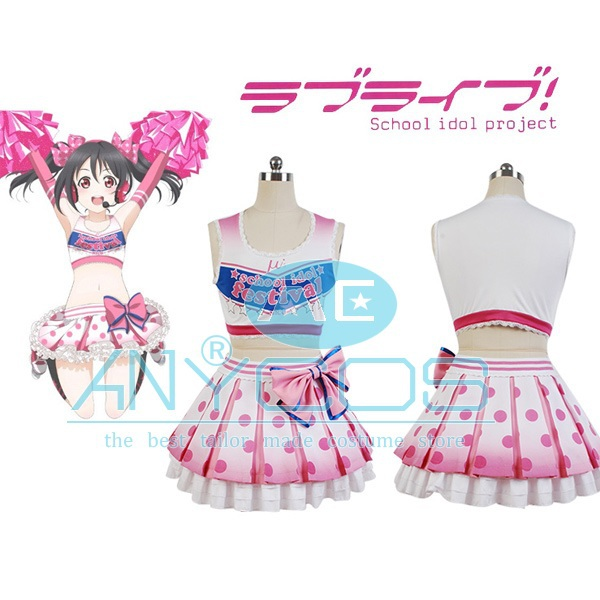 LoveLive Cosplay Costume Yazawa Niko Cheerleaders Uniform Women Girls Summer Sleeveless Dress Anime Cosplay Costume Custom Made