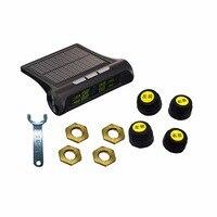 Ventas calientes Pantalla LCD Inalámbrico de Coche TPMS Sistema de Monitoreo de Presión de Los Neumáticos 4 Sensores Externos con Accesorios Del Coche de la Energía Solar