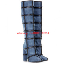 2016 Years of New Denim Botas Women Knee High Boots Leather Decorated Women Shoes Chaussure Femme Chunky Heel Shoes