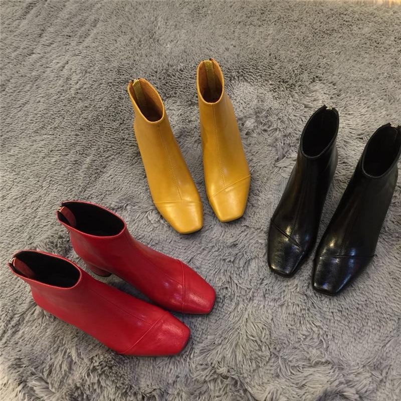 Carré Retour Bottes Hiver Talon Nouveau Cheville yellow Court Black Zip Chaussons Femmes Bout Automne Mujer Zapatos Rond De red qtXwSzA