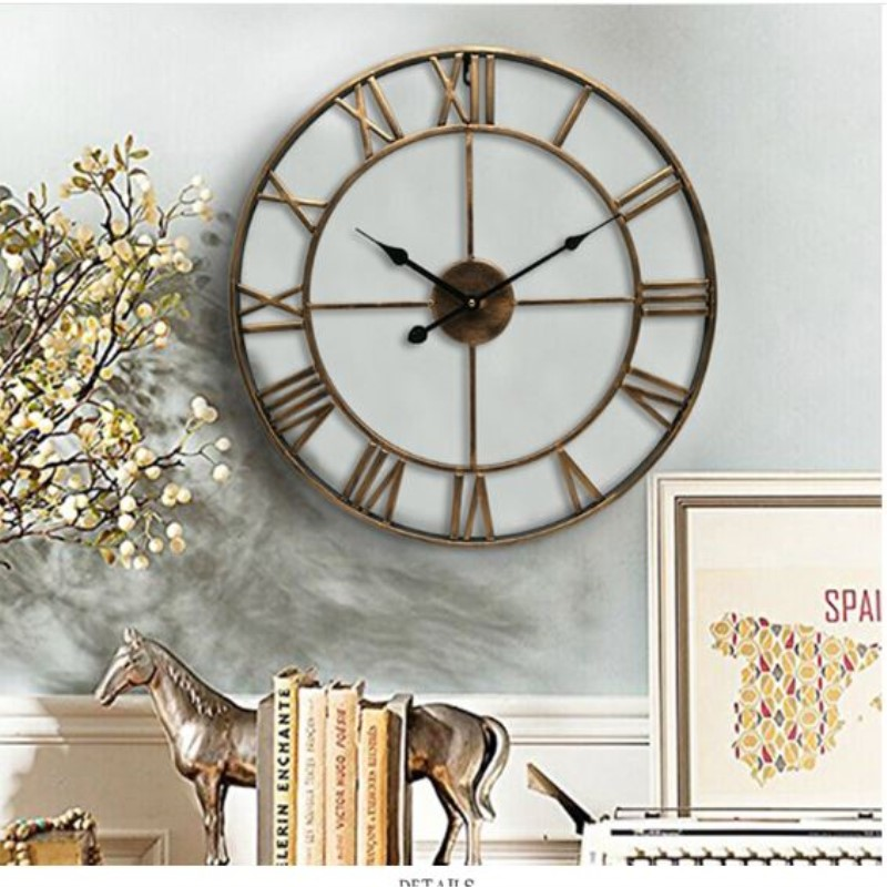 16 19 inches Wall Clock 3D Roman Vintage Large Metal Wall Clock Circular Retro Hollow Iron Mute Quartz Watch for Living Room