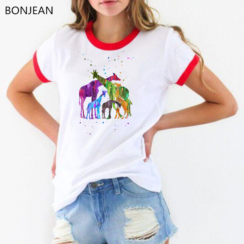 2019 rainbow watercolor zebra Giraffe family t shirt women summer tops tee femme white animal printed t-shirt female