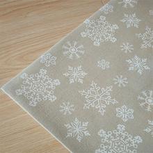 100×150 cm Weihnachten Weiße Schneeflocke Leinen Stoff Zum Nähen DIY Tischtuch Vorhang Kissenbezug Handmade Hometextile Stoff