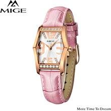 Mige Moda Marca Luxry Mujeres Rose Caja Oro Reloj de 2017 Nueva Mujer Casual Fashion PINK FUNDA IMPERMEABLE de Cuero RELOJES de PULSERA