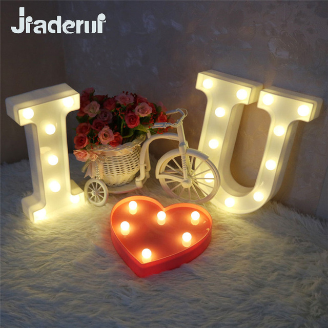 Jiaderui I Love U Letter LED Marquee Sign Night Light for Wedding Party Home Decor Alphabet Lights Indoor Wall Decor Lights