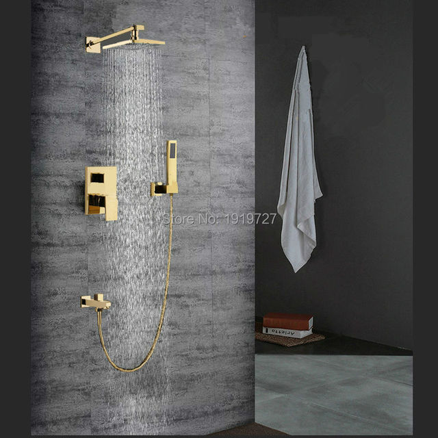 "Bagnolux Factory Wholesale Gold 8"" Square Bath 100% Brass Faucet Set Wall Mounted Shower Diverter Rainfall Mixer Bathroom Tap"