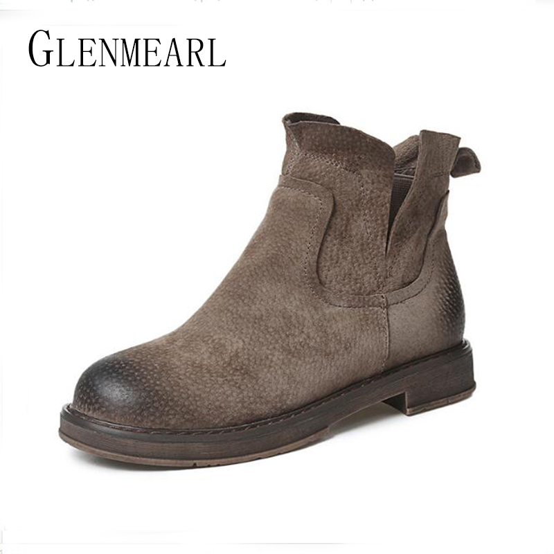 Genuine Leather Women Boots Chelsea Shoes Winter Warm Flats Heel Plus size Short Martin Ankle Boots