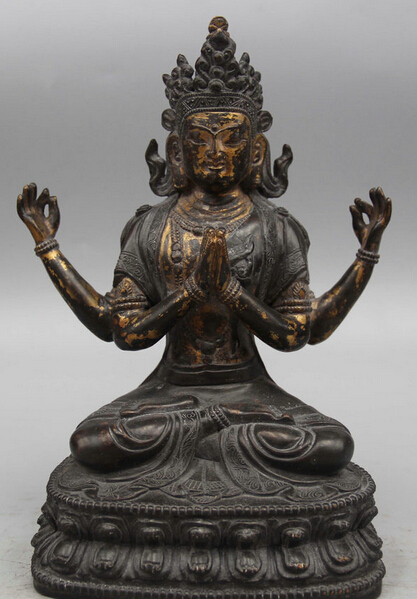 Dr524 9 Old Tibet Bronze 24K Gold Seat 4 Arms Chenrezig Buddha Avalokiteshvara Statue