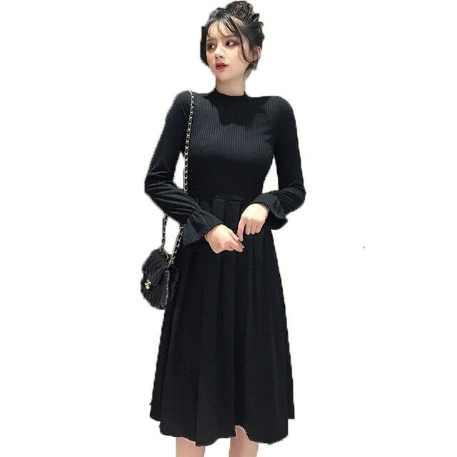 Spring Women Black Dress Long Sleeve Plain Dresses Woman Fit And Flare  Shape Vestidos Peplum Curvy Dresses Elegant Robe Femme XL cd0b1285bc55