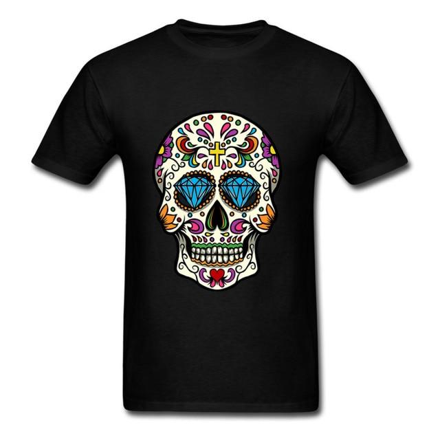 b5384688 Luxury Brand T Shirt Mens High Quality Sugar Skull Printed Mexican Skull  Adult T-Shirts Summer Tops