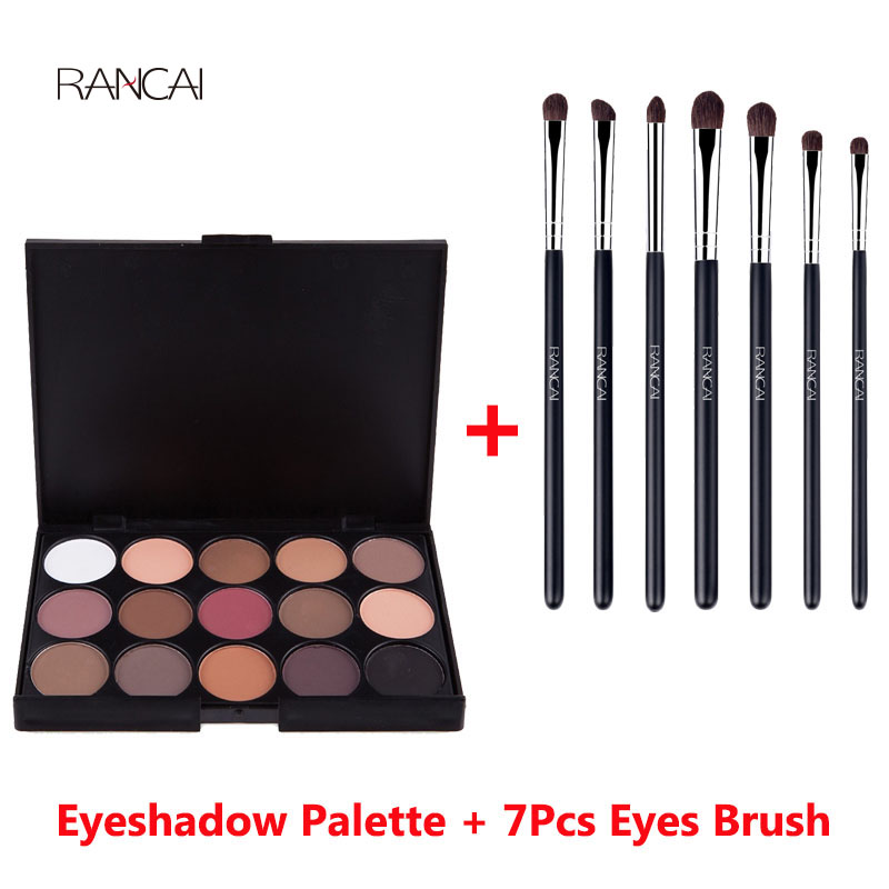 RANCAI 7pcs Eyes Brushes Set Eyeshadow Brush+15 Earth Colors Eye Shadow Palette Natural Matte Camouflage Cosmetics Beauty Tools для глаз cargo cosmetics you had me at aloha eye shadow palette