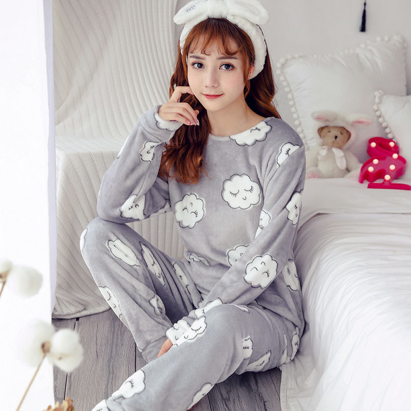 High Quality Women Pajama Sets Winter Soft Thicken Cute Cartoon Flannel Sleepwear 2 pcs/Set Tops + Warm Pants Home Clothes Mujer 80
