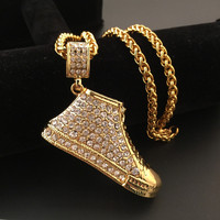 New Iced Out Fashion Necklace 18K Yellow Gold Plated Clear Rhinestone Shoe Pendant Necklace Men Bling
