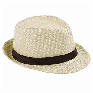 Хит модных продаж унисекс Fedora Мужская Гангстерская шляпа Кепка для женщин Летняя Пляжная шляпа соломенная шляпа-Панама мужские модные крутые шляпы розничная - Цвет: straw
