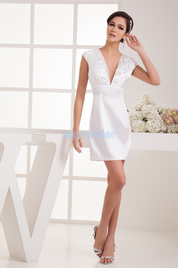 Free Shipping 2016 New Design Hot Sale Cap Sleeve Custom Size Beading V-neck Brides Maid Sexy White Short Mini Cocktail Dresses