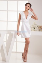free shipping 2014 new design hot sale cap sleeve custom size beading v-neck brides maid sexy white short mini Cocktail Dresses