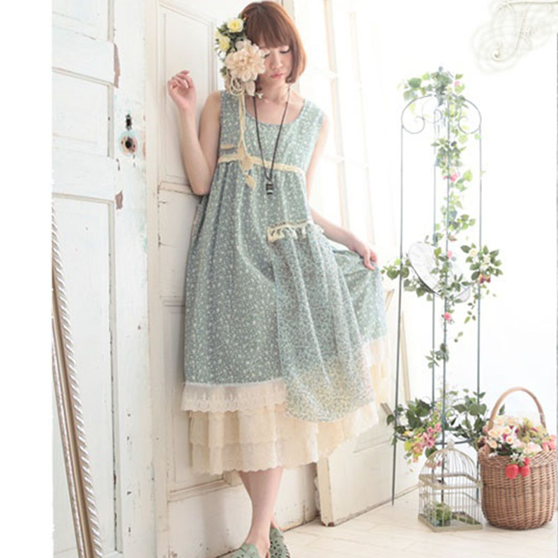 Mori Girl Summer Sweet Floral Dress Women Sleeveless Flower Print Patchwork One Piece Female Retro Dresses A131-in Dresses from Women's Clothing    3