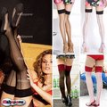 Hot 2015 New Fashion Sexy Women Ladies Heal Seamed Seam Thigh High Stockings Hose Black/Red/Nude Free Shipping Cheap  Z1