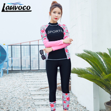2017 women Swimming Suit Full Body Covered Surfing Long Sleeves Pants Rash Guards Two Piece Suits Women Swimwear