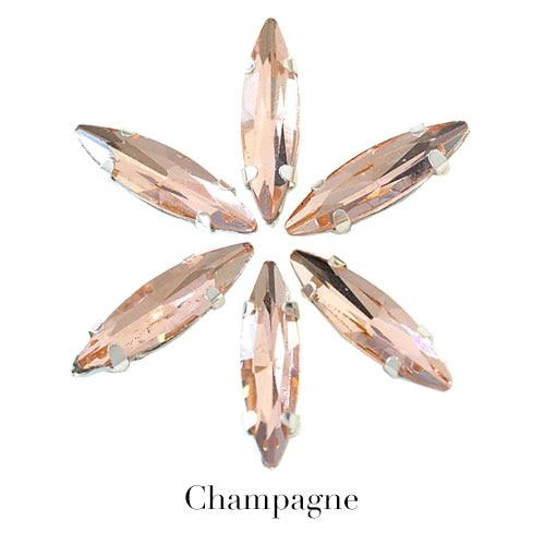 4x15 мм цветные хрустальные стразы в виде лошадиного глаза с серебристым когтем, маркиза, стразы в виде когтей для одежды, B1041 - Цвет: Champagne